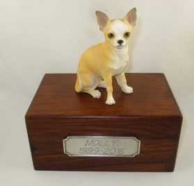 Beautiful Paulownia Small Wooden Urn with White & Tan Chihuahua Figurine & Personalized Pewter Engraving