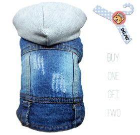 DC.PET Dog Jean Jacket Pet Clothes Dog Denim Jacket Shirt Dog Cool Blue Vest Coat Dog Hoodie for Small Medium Dogs