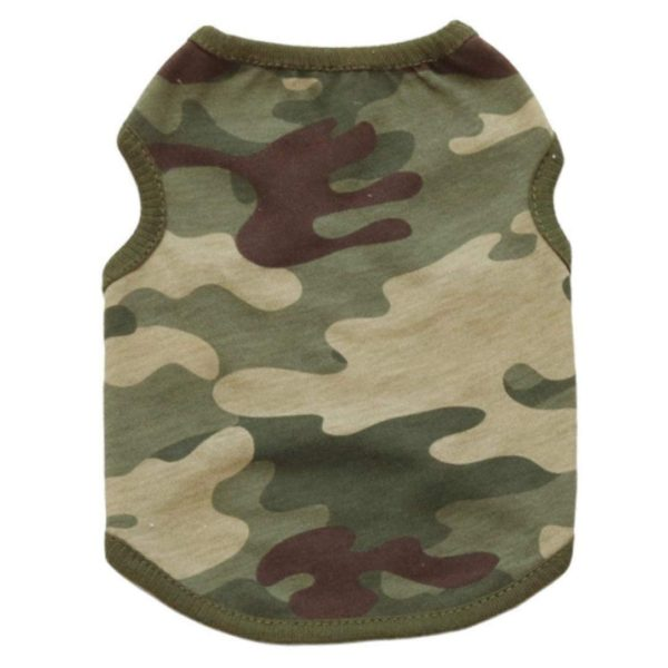Dog Clothes Summer, Wakeu Pet Puppy Vest Camouflage Patten T-shirt Apparel For Chihuahua Small Dog Boy Girl (Green, XS)