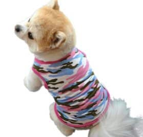 Dog Clothes Summer, Wakeu Pet Puppy Vest Camouflage Patten T-shirt Apparel For Chihuahua Small Dog Boy Girl (Pink, XS)