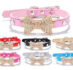 Dogs Kingdom Bling Rhinestone Bow Tie Collar Necklace Jewelry for Chihuahua Yorkie Girl Small or Medium Dogs Cats Pets Female Puppies 3