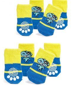 Nothing But Love Pets Toy Small Dog Non Slip 2 sock packs (8 pcs) For Yorkie Pom Maltese Chihuahua (Small size, blue, yellow, pirate)
