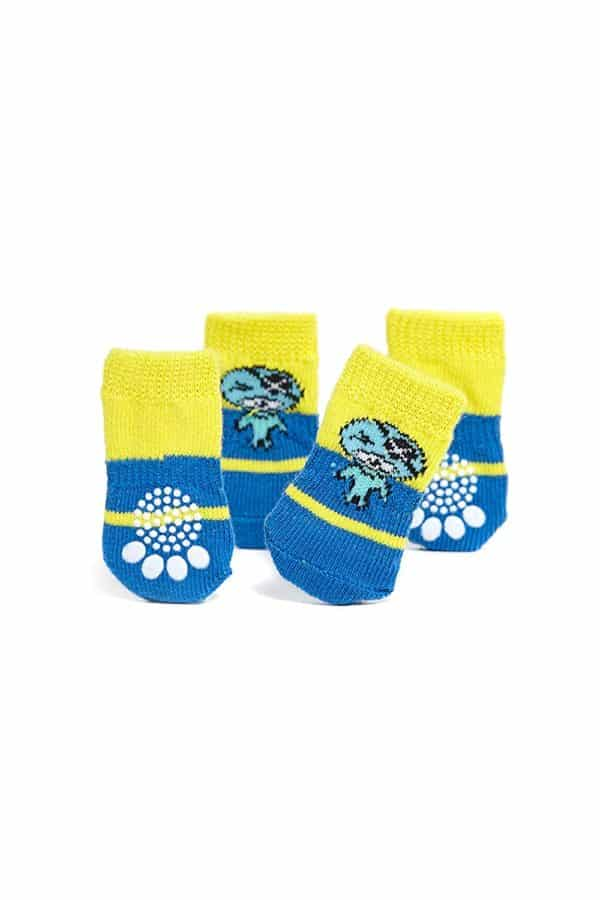 Nothing But Love Pets Toy Small Dog Non Slip 2 sock packs (8 pcs) For Yorkie Pom Maltese Chihuahua (Small size, blue, yellow, pirate) 3