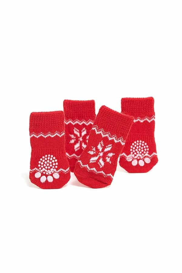 Nothing But Love Pets Toy Small Dog Non Slip 2 sock packs (8 pcs) For Yorkie Pom Maltese Chihuahua (Small size, red, white, snowflakes) 3