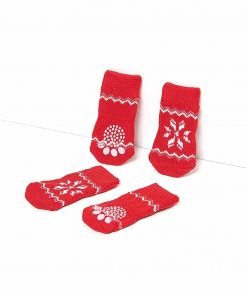 Nothing But Love Pets Toy Small Dog Non Slip 2 sock packs (8 pcs) For Yorkie Pom Maltese Chihuahua (Small size, red, white, snowflakes) 4