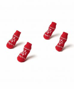 Nothing But Love Pets Toy Small Dog Non Slip 2 sock packs (8 pcs) For Yorkie Pom Maltese Chihuahua (Small size, red, white, snowflakes) 5