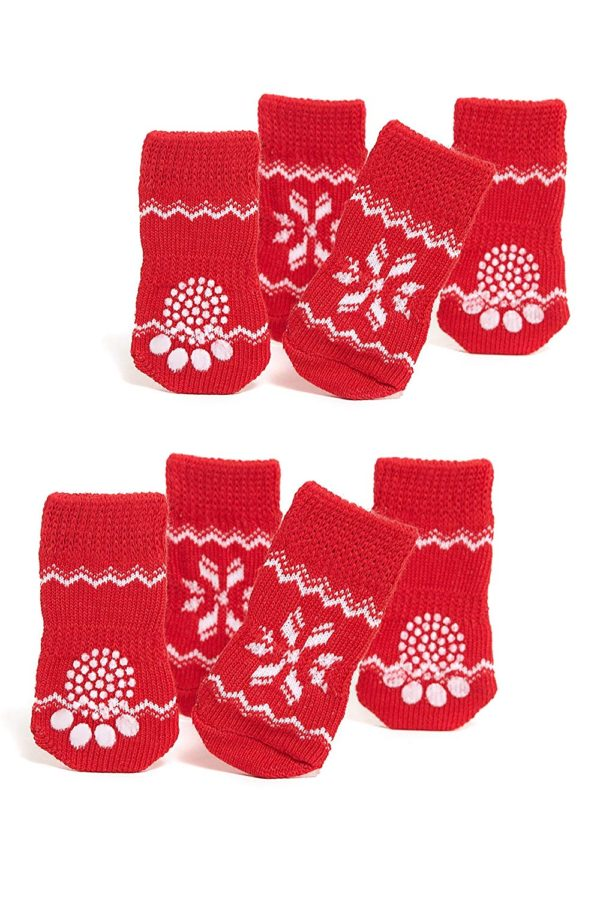 Nothing But Love Pets Toy Small Dog Non Slip 2 sock packs (8 pcs) For Yorkie Pom Maltese Chihuahua (Small size, red, white, snowflakes)