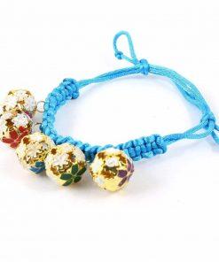 Pet Dog Bell Decor Knot Button Braided Necklace Bracelet Sky Blue