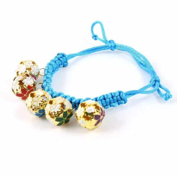 Pet Dog Bell Decor Knot Button Braided Necklace Bracelet Sky Blue