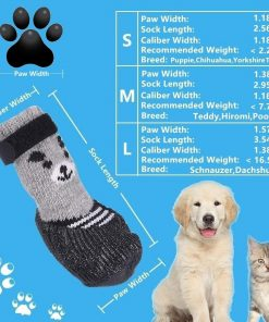 SMARTHING Dog Cat Boots Shoes Socks with Adjustable Waterproof Breathable and Anti-Slip Sole All Weather Protect Paws(S,Black,4 Set) 2