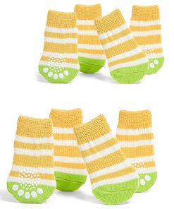 Toy Small Dog Non Slip 2 sock packs (8 pcs) For Yorkie Pom Maltese Chihuahua (Very Small Size, Yellow)