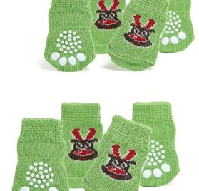 Toy Small Dog Non Slip 2 sock packs (8 pcs) For Yorkie Pom Maltese Chihuahua (Very Small Size, green, elk)