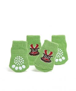 Toy Small Dog Non Slip 2 sock packs (8 pcs) For Yorkie Pom Maltese Chihuahua (Very Small Size, green, elk) 3