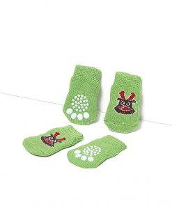 Toy Small Dog Non Slip 2 sock packs (8 pcs) For Yorkie Pom Maltese Chihuahua (Very Small Size, green, elk) 4
