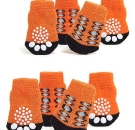 Toy Small Dog Non Slip 2 sock packs (8 pcs) For Yorkie Pom Maltese Chihuahua (Very Small Size, orange, black)