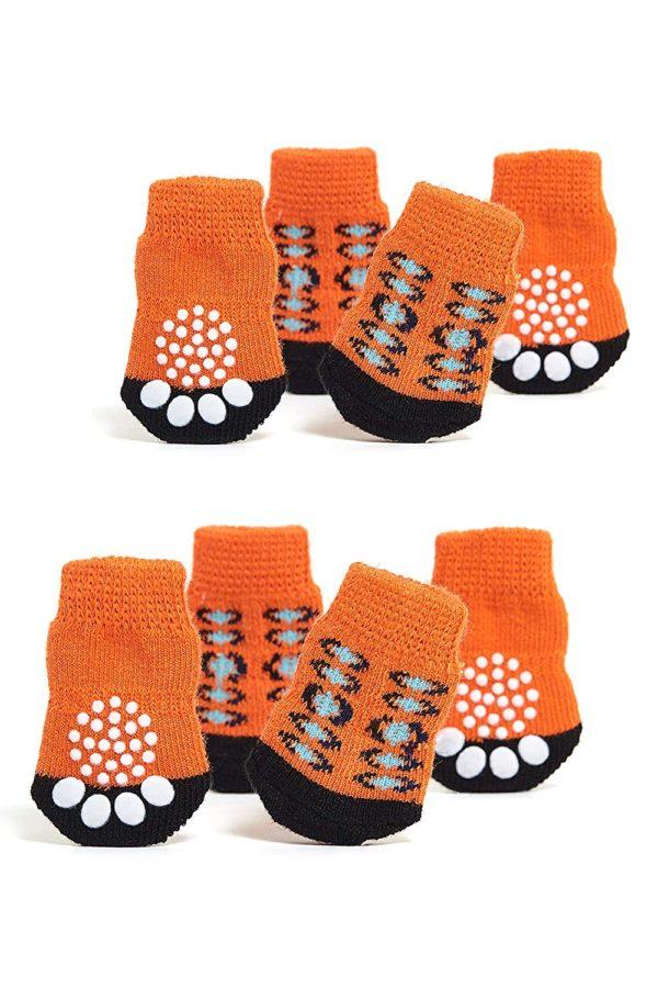 Toy Small Dog Non Slip 2 sock packs (8 pcs) For Yorkie Pom Maltese Chihuahua (Very Small Size, orange, black)