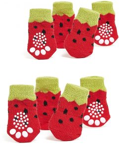 Toy Small Dog Non Slip 2 sock packs (8 pcs) For Yorkie Pom Maltese Chihuahua (Very Small Size, red, yellow, strawberry)