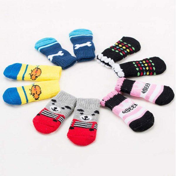 Traction Control Cotton Socks Indoor Dog Nonskid Knit Socks 5 Pairs Random Color 3
