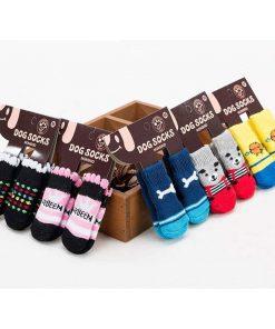 Traction Control Cotton Socks Indoor Dog Nonskid Knit Socks 5 Pairs Random Color 4