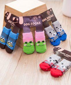 Traction Control Cotton Socks Indoor Dog Nonskid Knit Socks 5 Pairs Random Color 5