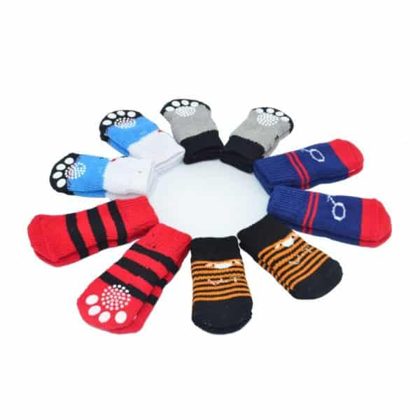 Traction Control Cotton Socks Indoor Dog Nonskid Knit Socks 5 Pairs Random Color