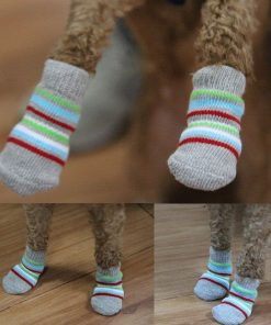 Traction Control Cotton Socks Indoor Dog Nonskid Knit Socks 5 Pairs Random Color 8