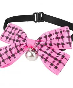 Uxcell Checker Print Pet Bowknot Necktie Collar, Pink Black