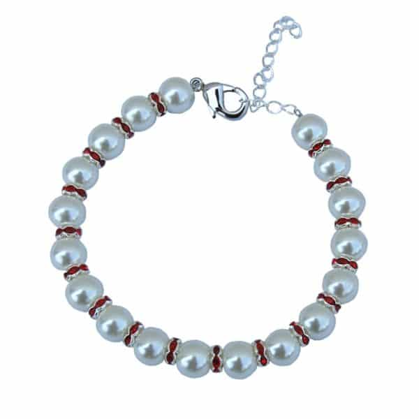 White Glass Pearl Pet and Dog Necklace with Red Rhinestone Rings