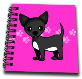 3dRose db_12081_3 Cute Black Chihuahua Pink Paw print Background Mini Notepad, 4 by 4""