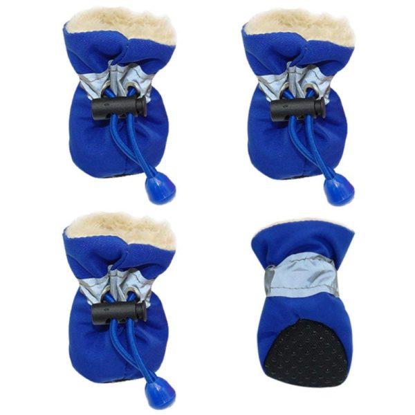 4pcs Pet Dog Waterproof Anti-slip Rain Snow Boots Footwear Puppy Cats Thick Warm Socks