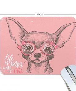 ALAZA Grunge Cute Chihuahua Dog Art Non-Slip Rubber Decorate Gaming Mouse Pad 9.84 x 7.48 inch