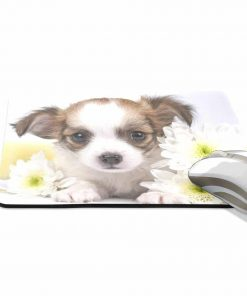 ALAZA Hipster Sweet Chihuahua Puppy and Flowers Non-Slip Rubber Decorate Gaming Mouse Pad 9.84 x 7.48 inch 2