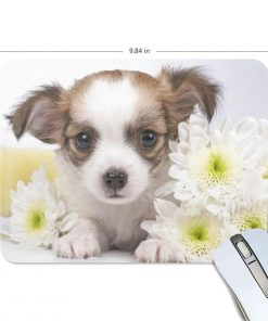 ALAZA Hipster Sweet Chihuahua Puppy and Flowers Non-Slip Rubber Decorate Gaming Mouse Pad 9.84 x 7.48 inch