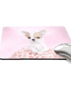ALAZA Stylish Chihuahua Puppy with Rose Non-Slip Rubber Decorate Gaming Mouse Pad 9.84 x 7.48 inch 2