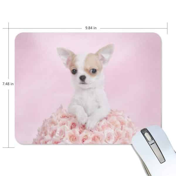 ALAZA Stylish Chihuahua Puppy with Rose Non-Slip Rubber Decorate Gaming Mouse Pad 9.84 x 7.48 inch