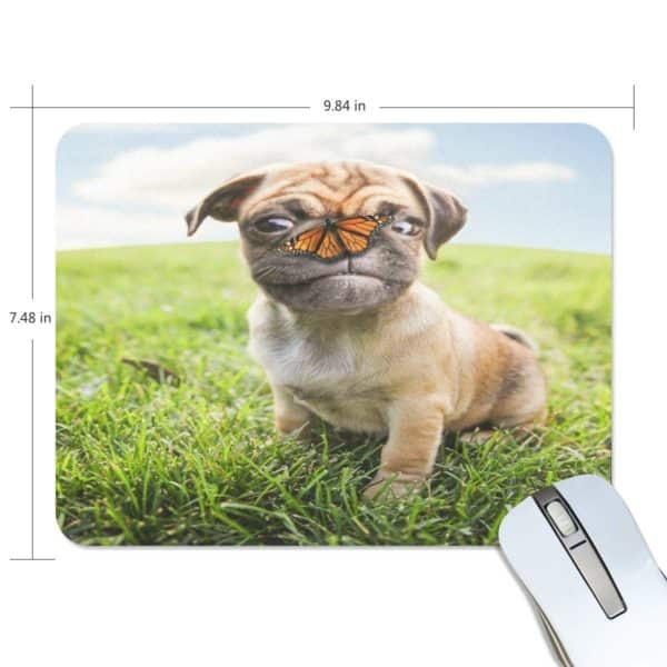 ALAZA Stylish Cute Chihuahua with Butterfly Non-Slip Rubber Decorate Gaming Mouse Pad 9.84 x 7.48 inch