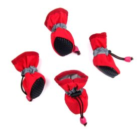 Alfie Pet by Petoga Couture - Hudson All Weather Set of 4 Dog Boots - Color- Red, Size- XS