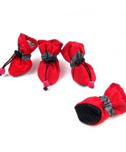 Alfie Pet by Petoga Couture - Hudson All Weather Set of 4 Dog Boots - Color- Red, Size- XS 6