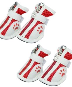 BUYITNOW Dog Paw Protective Boots for Small Dog Nonslip Breathable Mesh Pet Shoes 4pcs