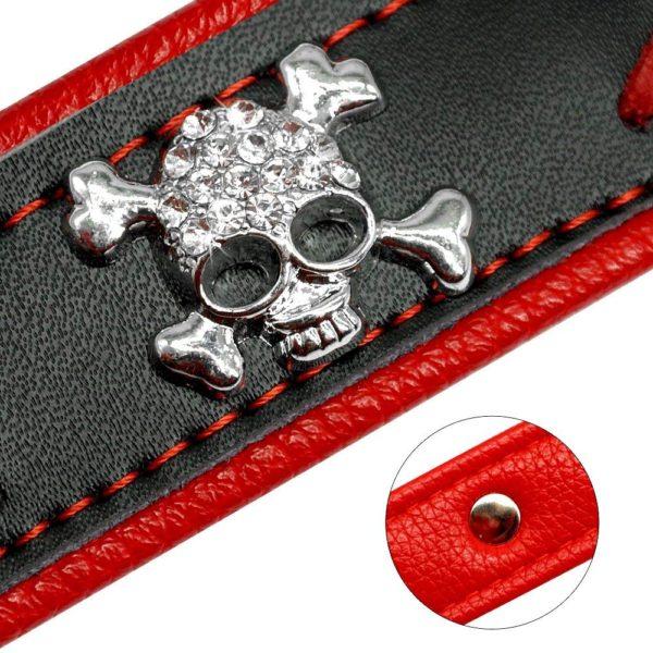 Beirui Braided Leather Dog Collars - Soft Padded Dog Collars- Fashion Skull Studded fits Small Medium Large Pet Breeds 3