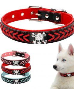 Beirui Braided Leather Dog Collars - Soft Padded Dog Collars- Fashion Skull Studded fits Small Medium Large Pet Breeds 6