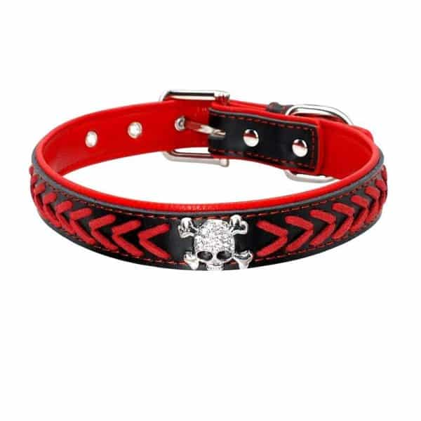 Beirui Braided Leather Dog Collars - Soft Padded Dog Collars- Fashion Skull Studded fits Small Medium Large Pet Breeds