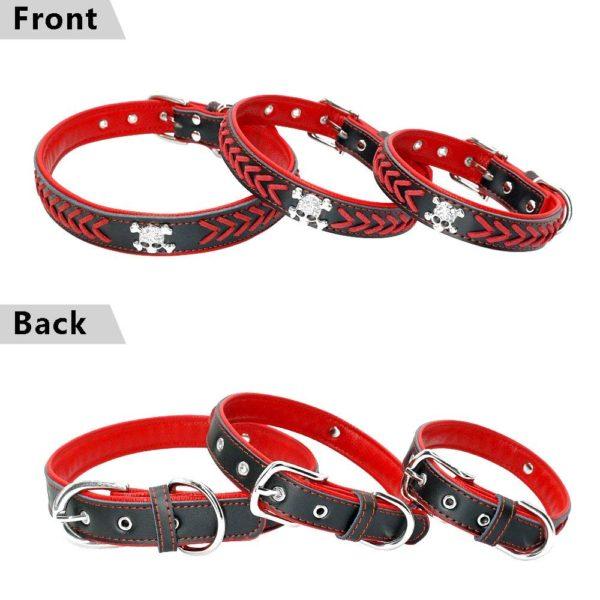 Beirui Braided Leather Dog Collars - Soft Padded Dog Collars- Fashion Skull Studded fits Small Medium Large Pet Breeds 8