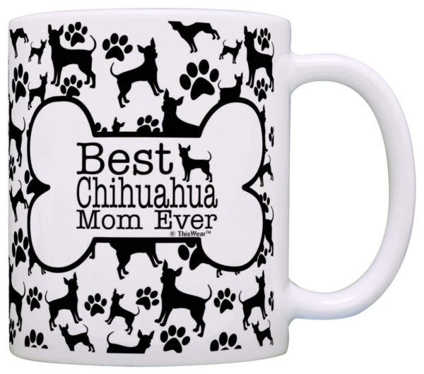 Dog Owner Gifts Best Chihuahua Mom Ever Paw Pattern Gift Coffee Mug Tea Cup Bone Pattern