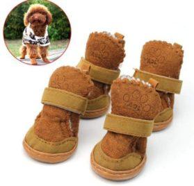 Dog Snow Boots! AMA(TM) 4pcs Pack Waterproof Pet Dog Puppy Chihuahua Anti-Slip Boots Dress Up Winter Warm Walking Snow Boots Shoes Socks 2