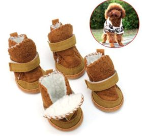 Dog Snow Boots! AMA(TM) 4pcs Pack Waterproof Pet Dog Puppy Chihuahua Anti-Slip Boots Dress Up Winter Warm Walking Snow Boots Shoes Socks