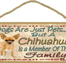 "Dogs Are Just Pets But A Brown Chihuahua Is Part Of The Family Dog Sign Plaque 5""x10"""