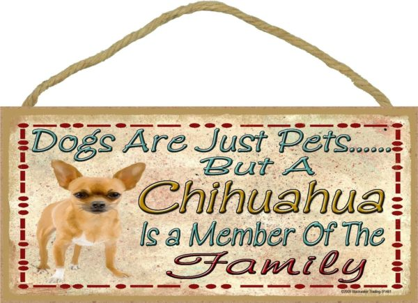 """Dogs Are Just Pets But A Brown Chihuahua Is Part Of The Family Dog Sign Plaque 5""""x10"""""""