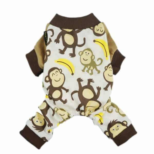 Fitwarm Soft Cotton Adorable Monkey Dog Pajamas Shirt Pet Clothes, Brown, X-small