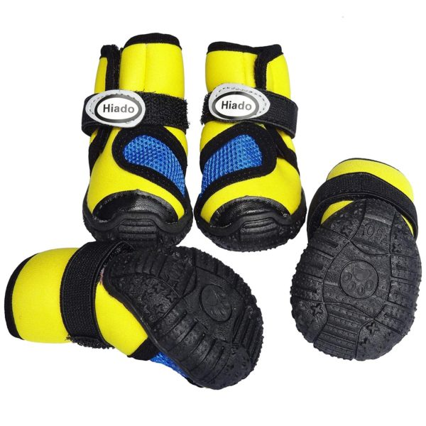 Hiado Dog Shoes Boots with Velcro Mesh and Anti Slip Rubber Sole for Small Dogs Heat Protection Running Hiking All Weather